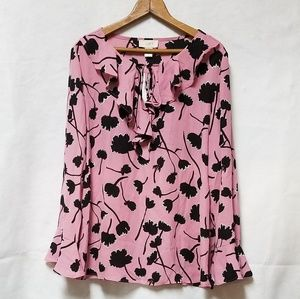 Loft NWT Pink Black Floral Flowy Light Blouse M